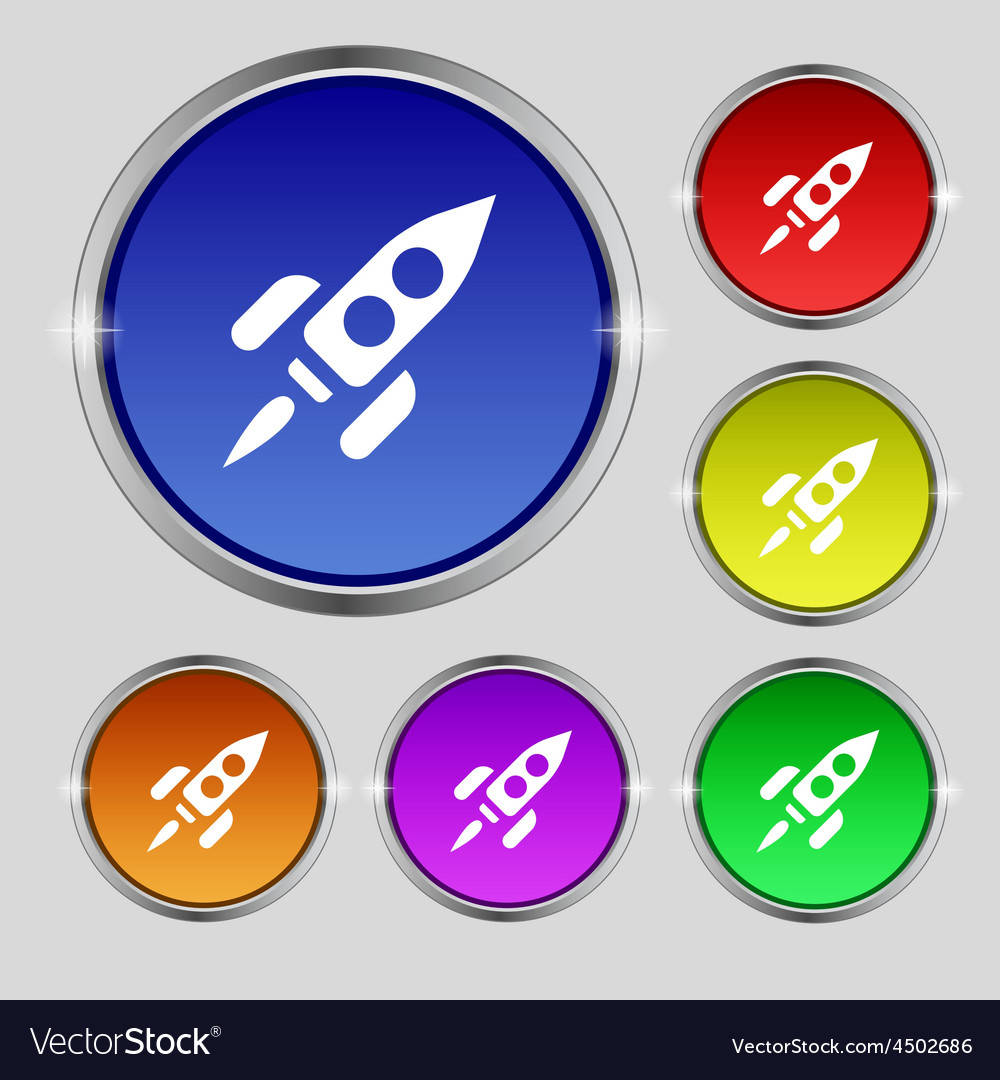 Rocket icon sign round symbol on bright colourful vector | Price: 1 Credit (USD $1)