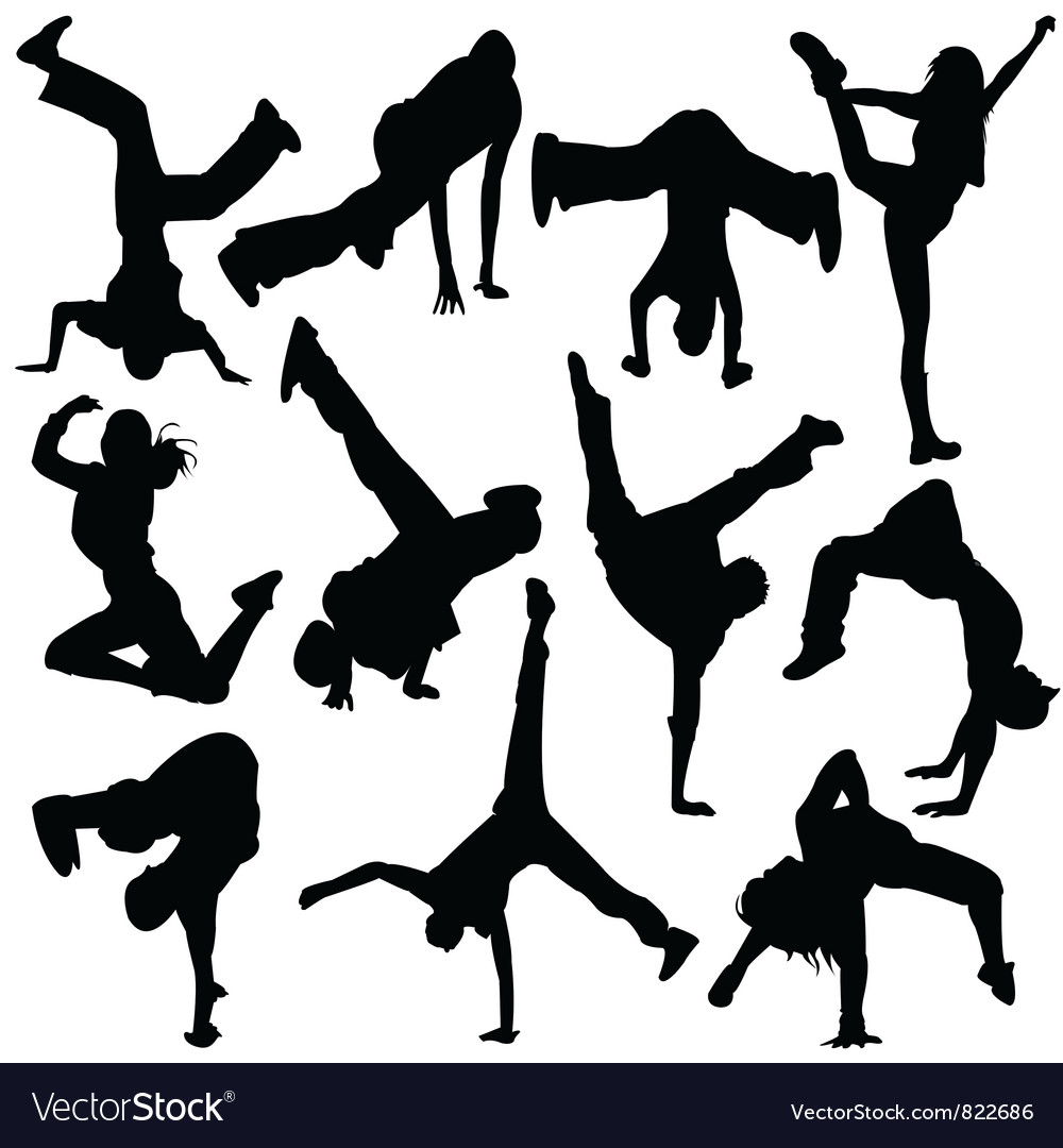 Silhouette break dance vector | Price: 1 Credit (USD $1)