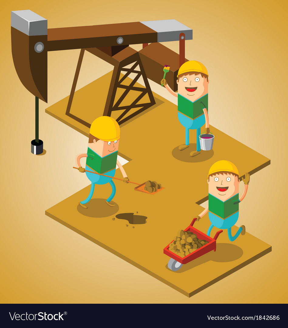 Working at oil field vector | Price: 1 Credit (USD $1)