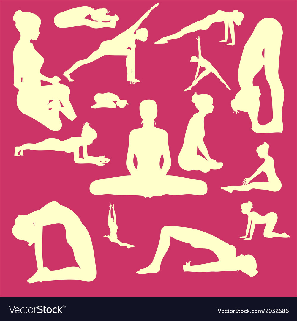 Yoga pose woman digital clipart vector | Price: 1 Credit (USD $1)