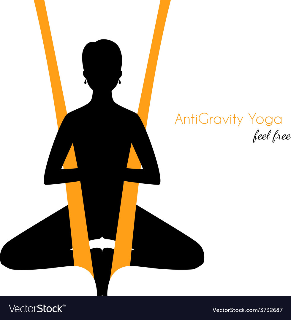 Anti-gravity yoga poses woman silhouette vector | Price: 1 Credit (USD $1)