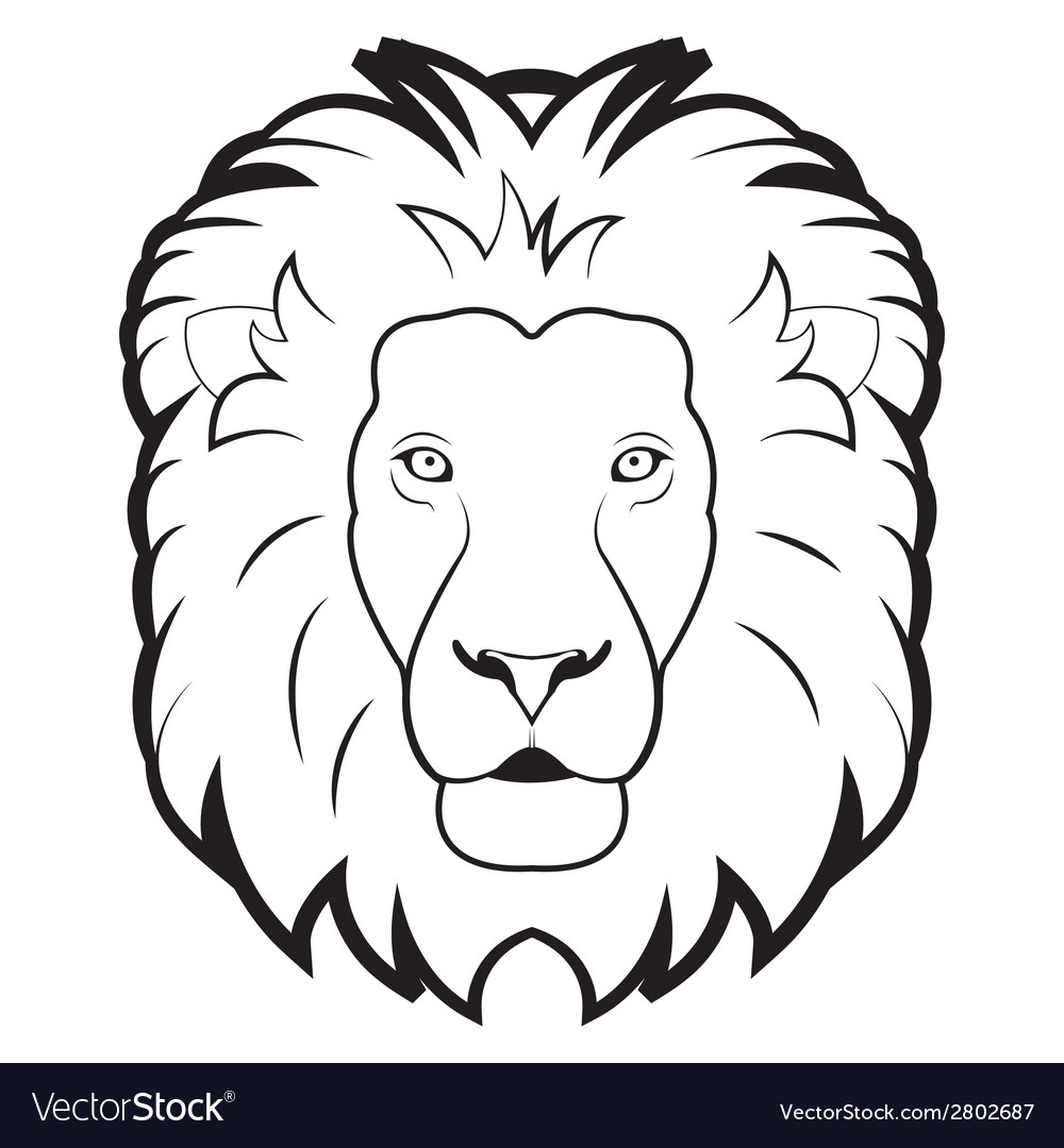 Black and white of lion vector | Price: 1 Credit (USD $1)