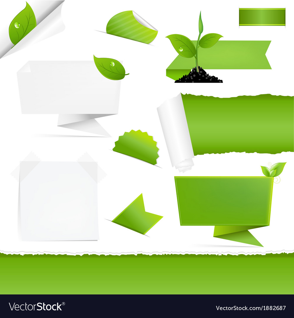 Eco green set vector | Price: 1 Credit (USD $1)
