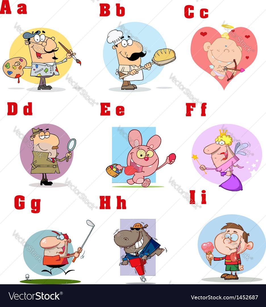 Funny cartoon alphabet collection 1 vector   Price: 3 Credit (USD $3)