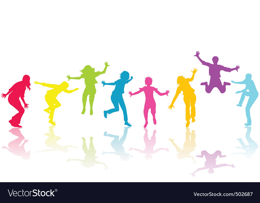 Hand drown children colored silhouettes vector | Price: 1 Credit (USD $1)