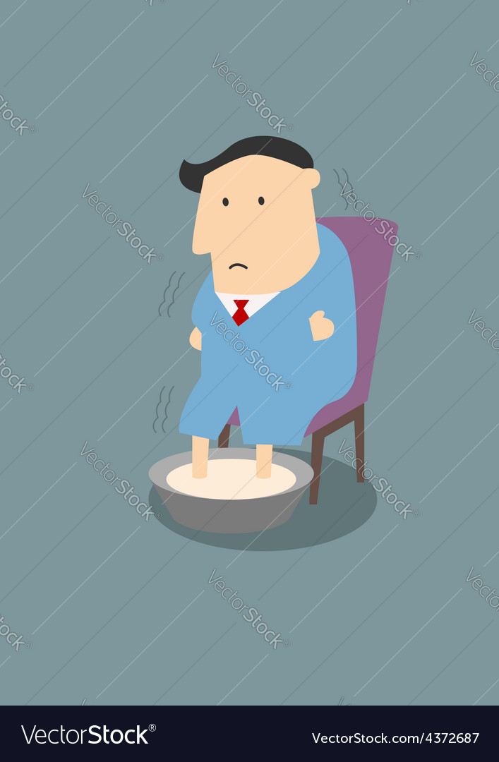 Illness businessman warming feet in hot water vector   Price: 1 Credit (USD $1)