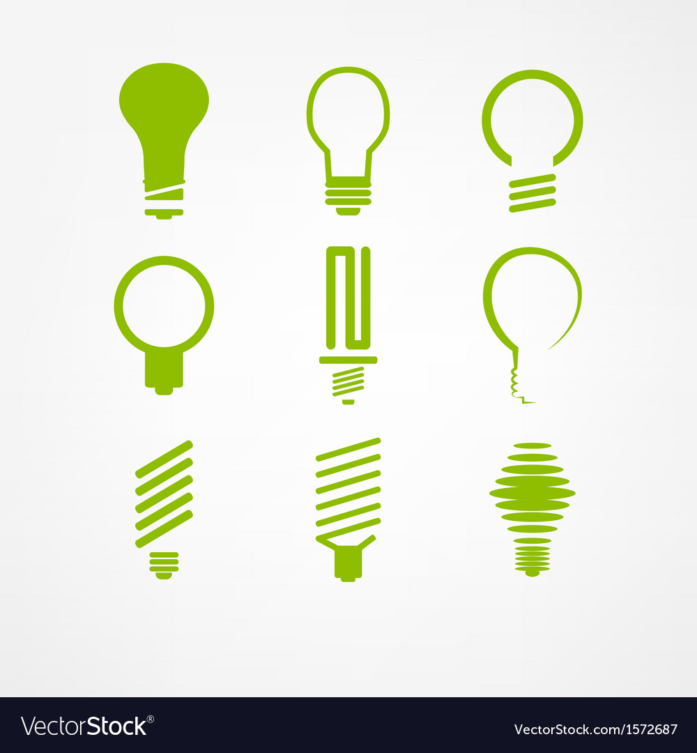 Lightbulb icon set vector | Price: 1 Credit (USD $1)