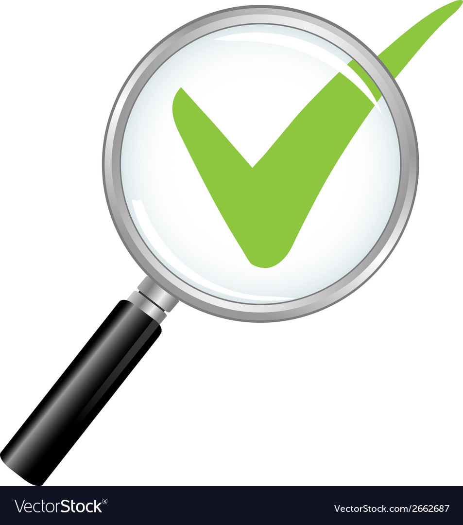 Magnified check mark vector