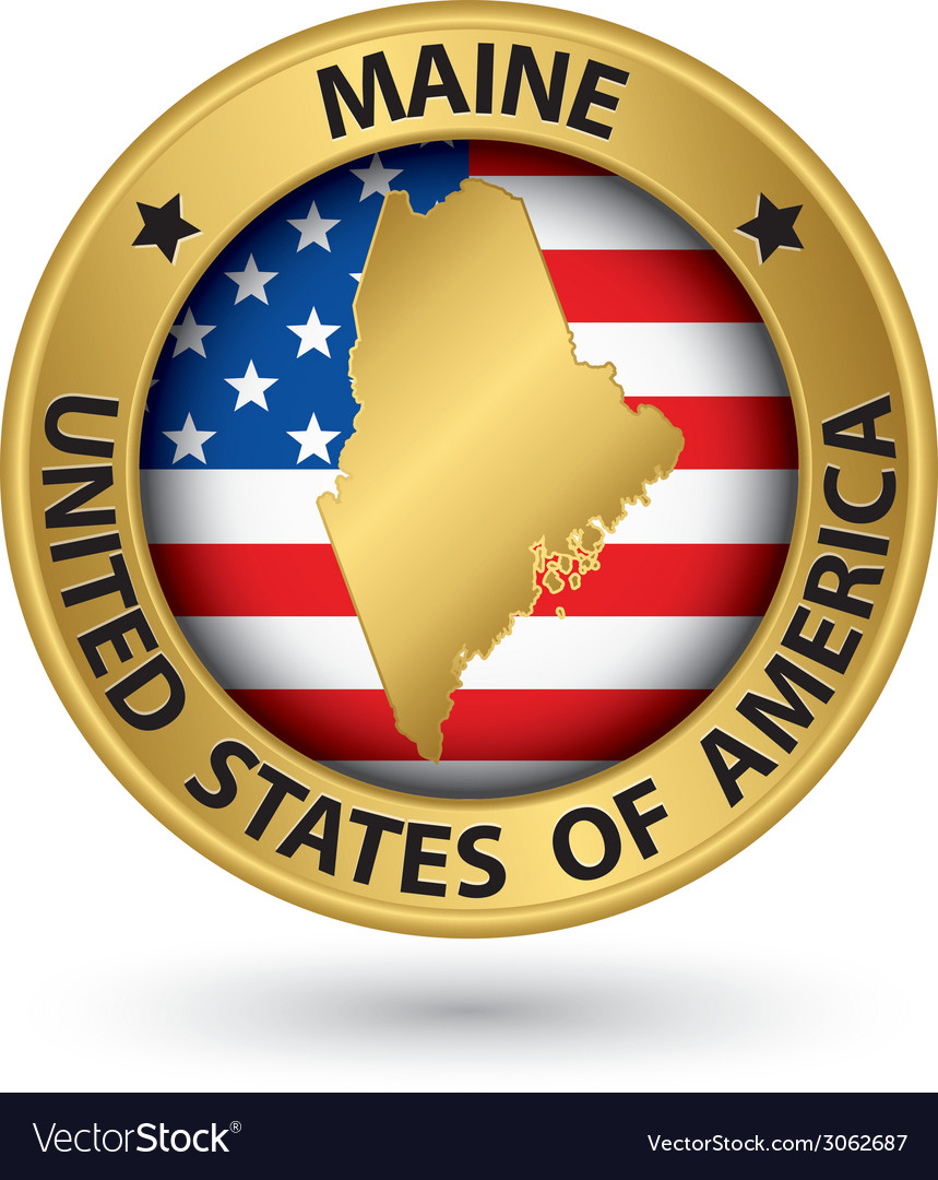 Maine state gold label with state map vector | Price: 1 Credit (USD $1)