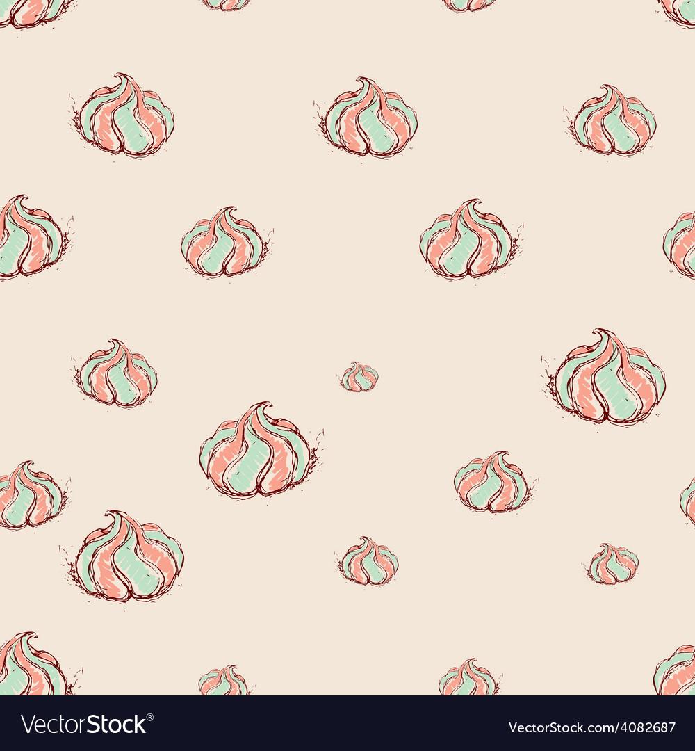 Meringue dessert hand drawn sketch on pink vector | Price: 1 Credit (USD $1)
