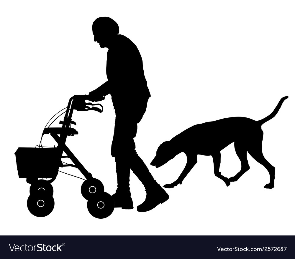 Old woman with dog vector | Price: 1 Credit (USD $1)