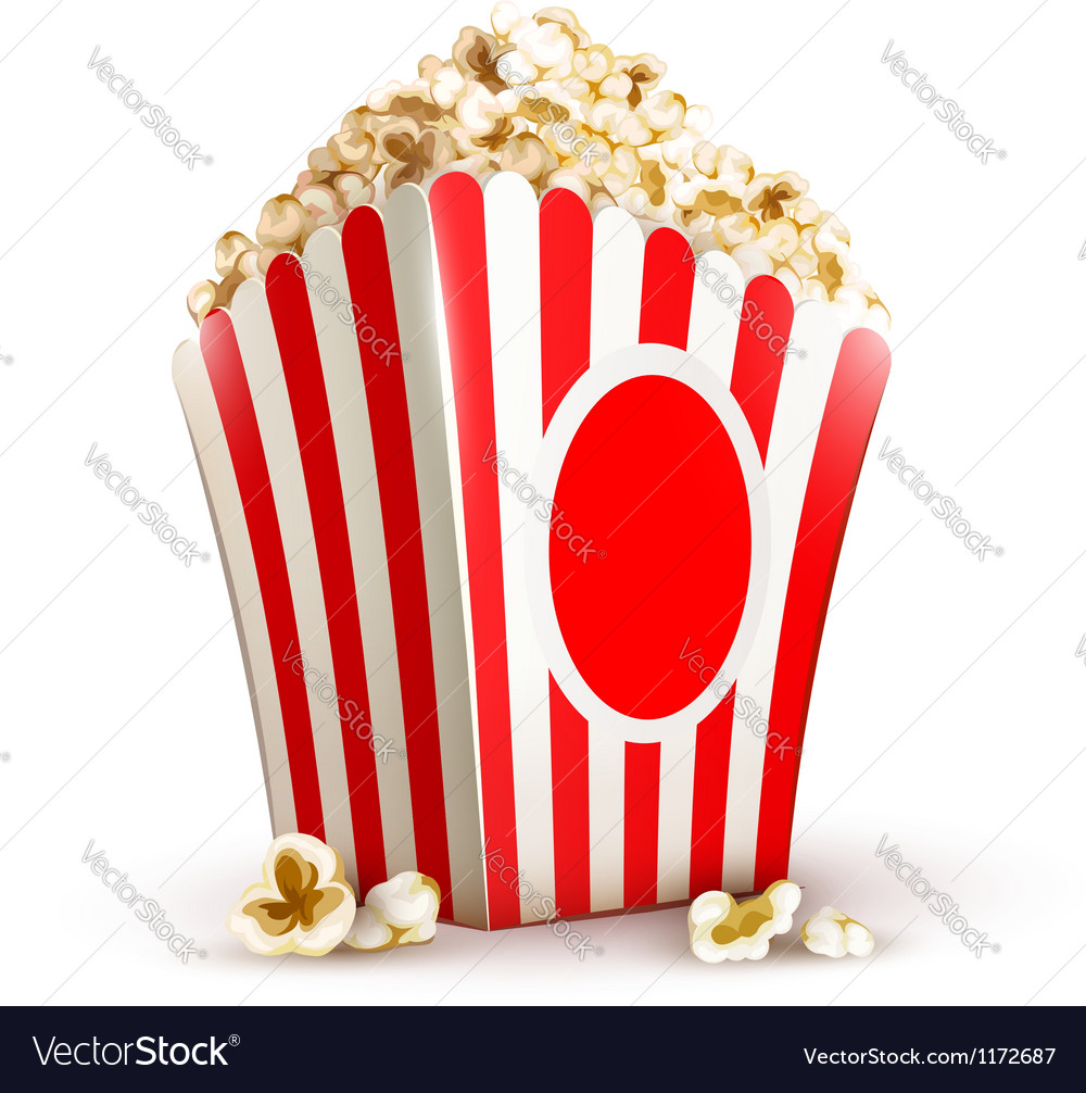 Paper bag full of popcorn vector | Price: 3 Credit (USD $3)
