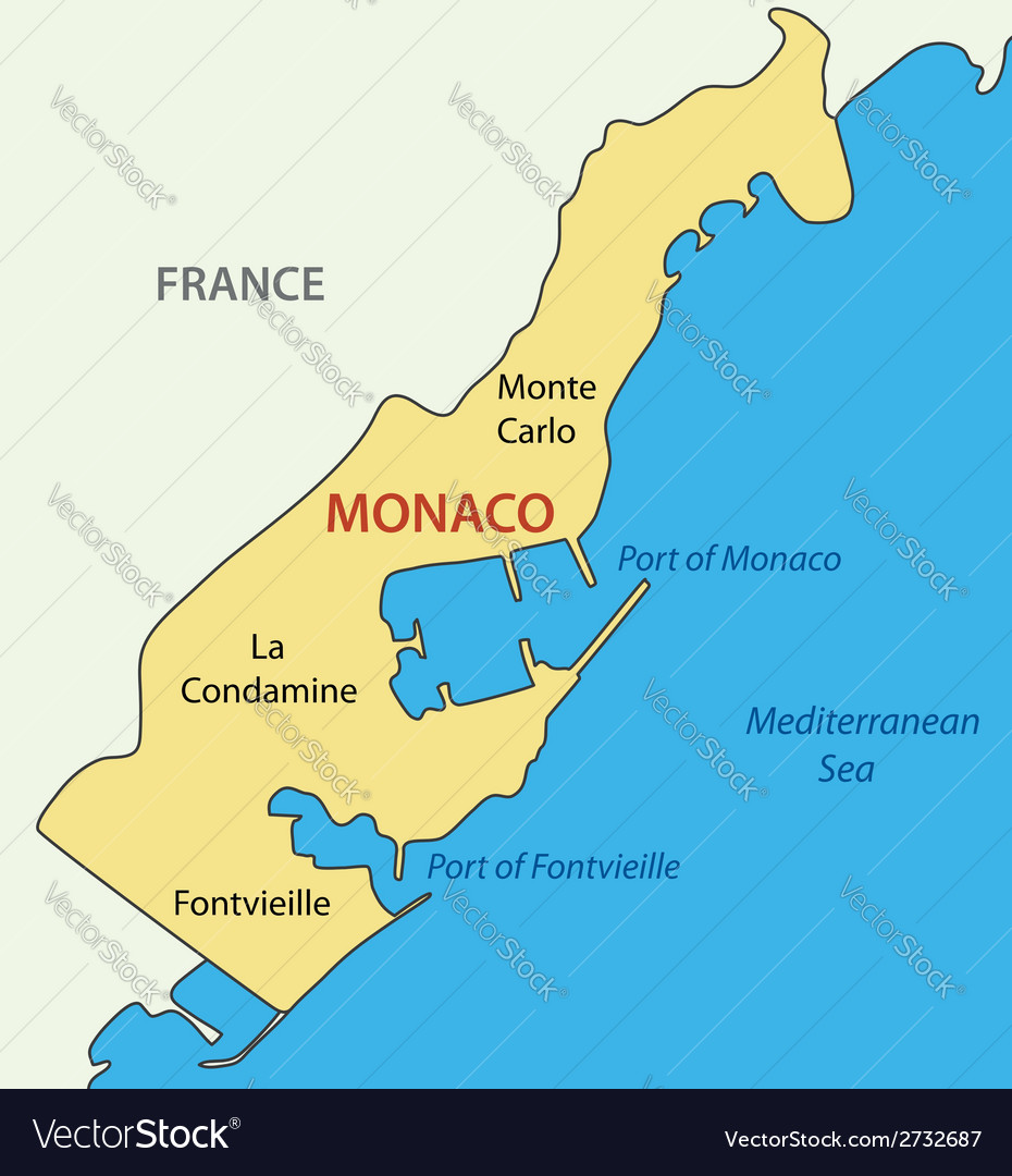 Principality of monaco - map vector | Price: 1 Credit (USD $1)