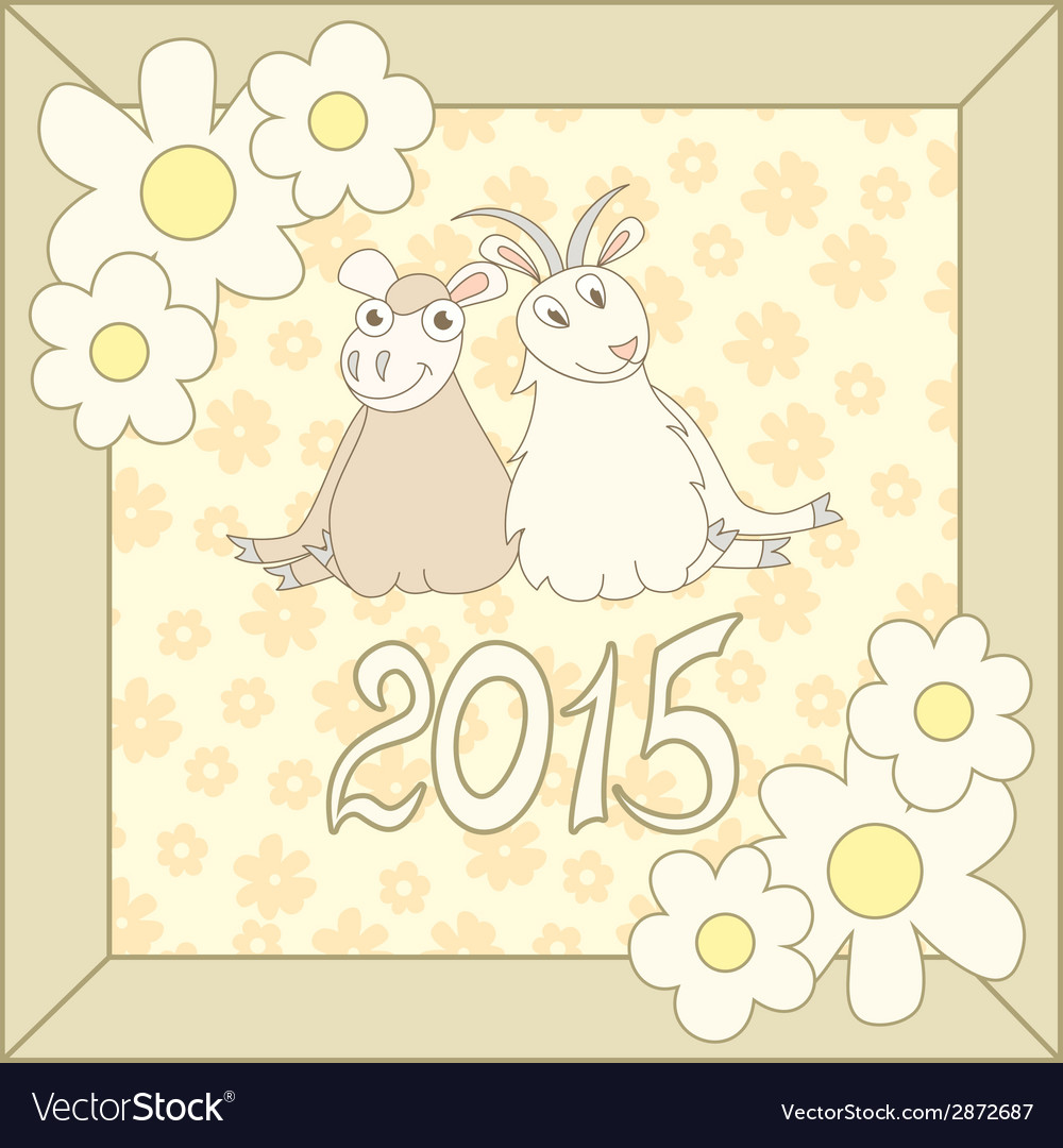 Retro card with cartoon sheep and goat for vector | Price: 1 Credit (USD $1)