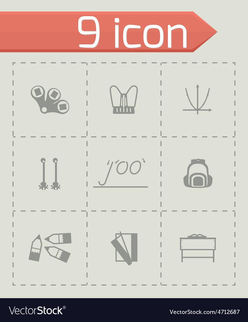 Schoolbook icon set vector | Price: 1 Credit (USD $1)