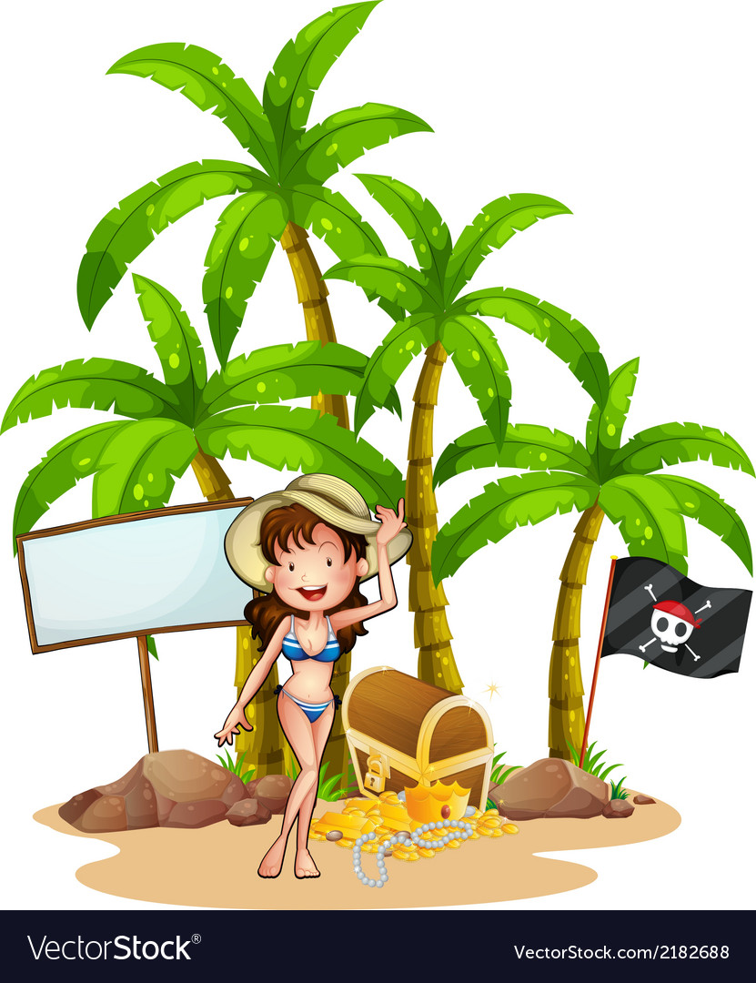 A sexy girl at the beach near the empty signboard vector | Price: 1 Credit (USD $1)