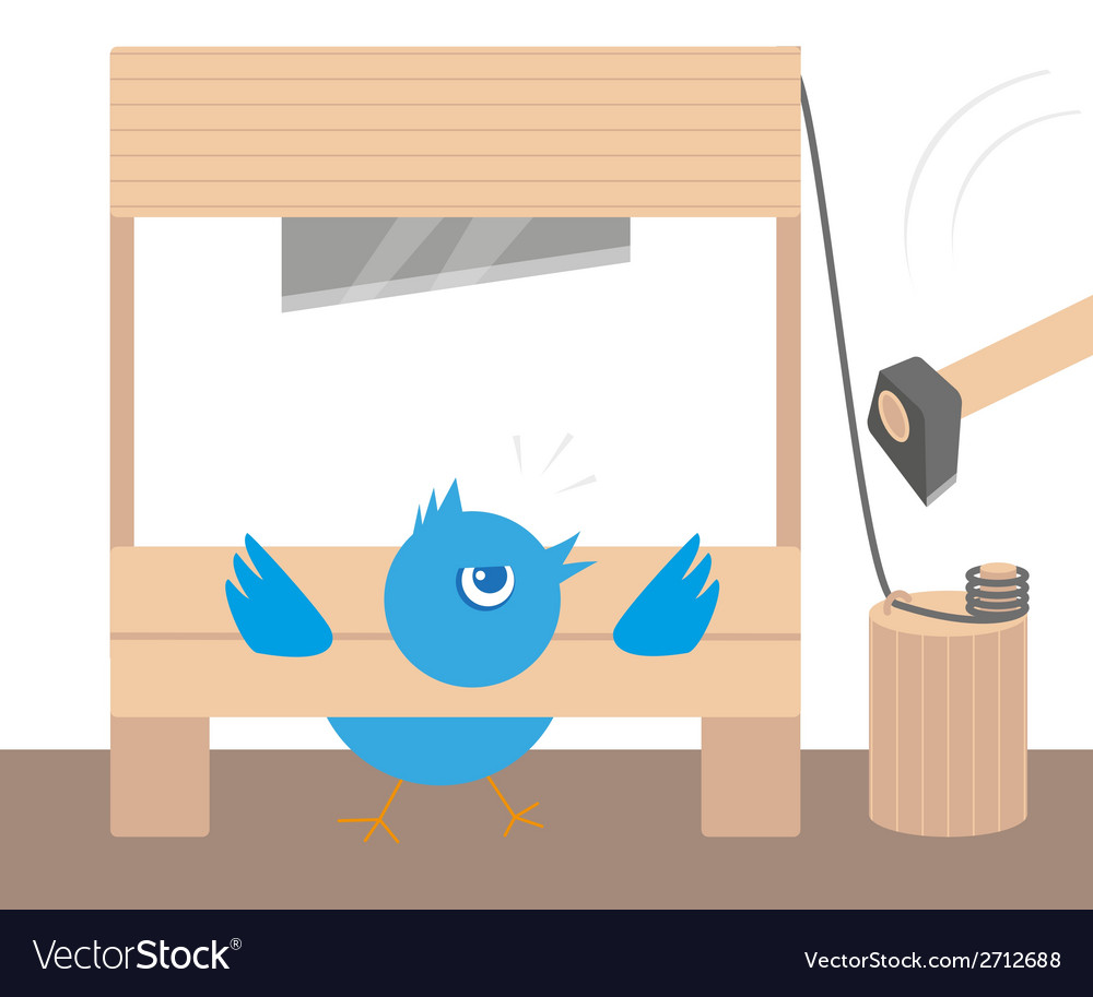 Blue angry bird in guillotine vector | Price: 1 Credit (USD $1)