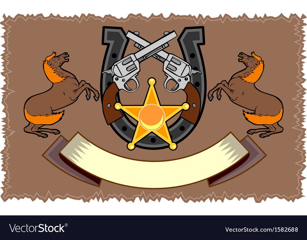 Colt 45 and horseshoe emblem vector | Price: 1 Credit (USD $1)