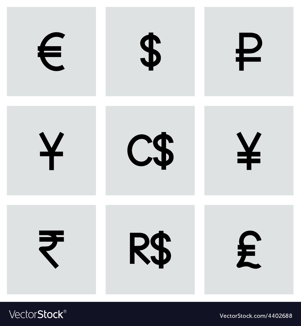 Currency symbol icon set vector | Price: 1 Credit (USD $1)