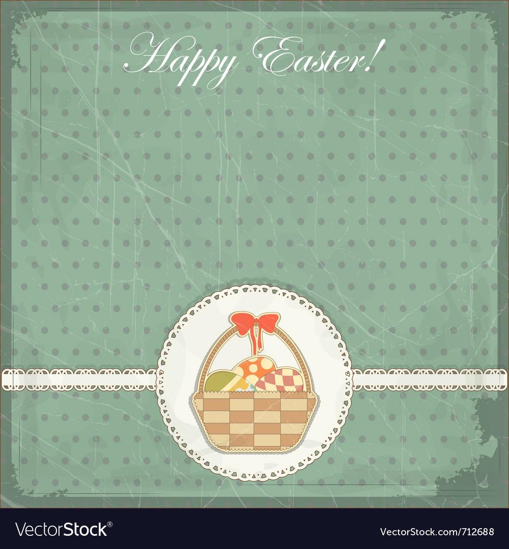 Easter card in vintage style - basket of easter eg vector   Price: 1 Credit (USD $1)