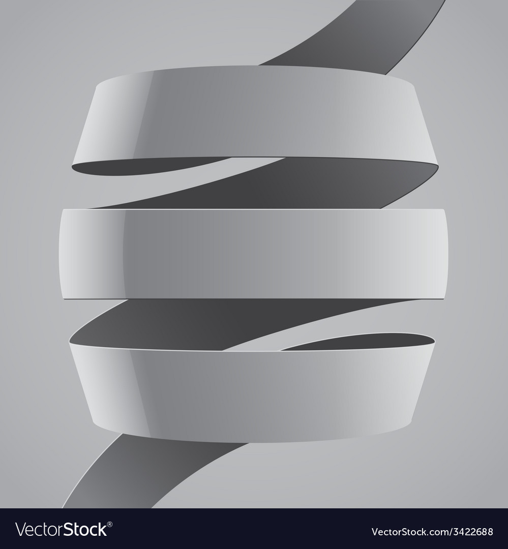 Grey fabric curved ribbon on grey background vector   Price: 1 Credit (USD $1)