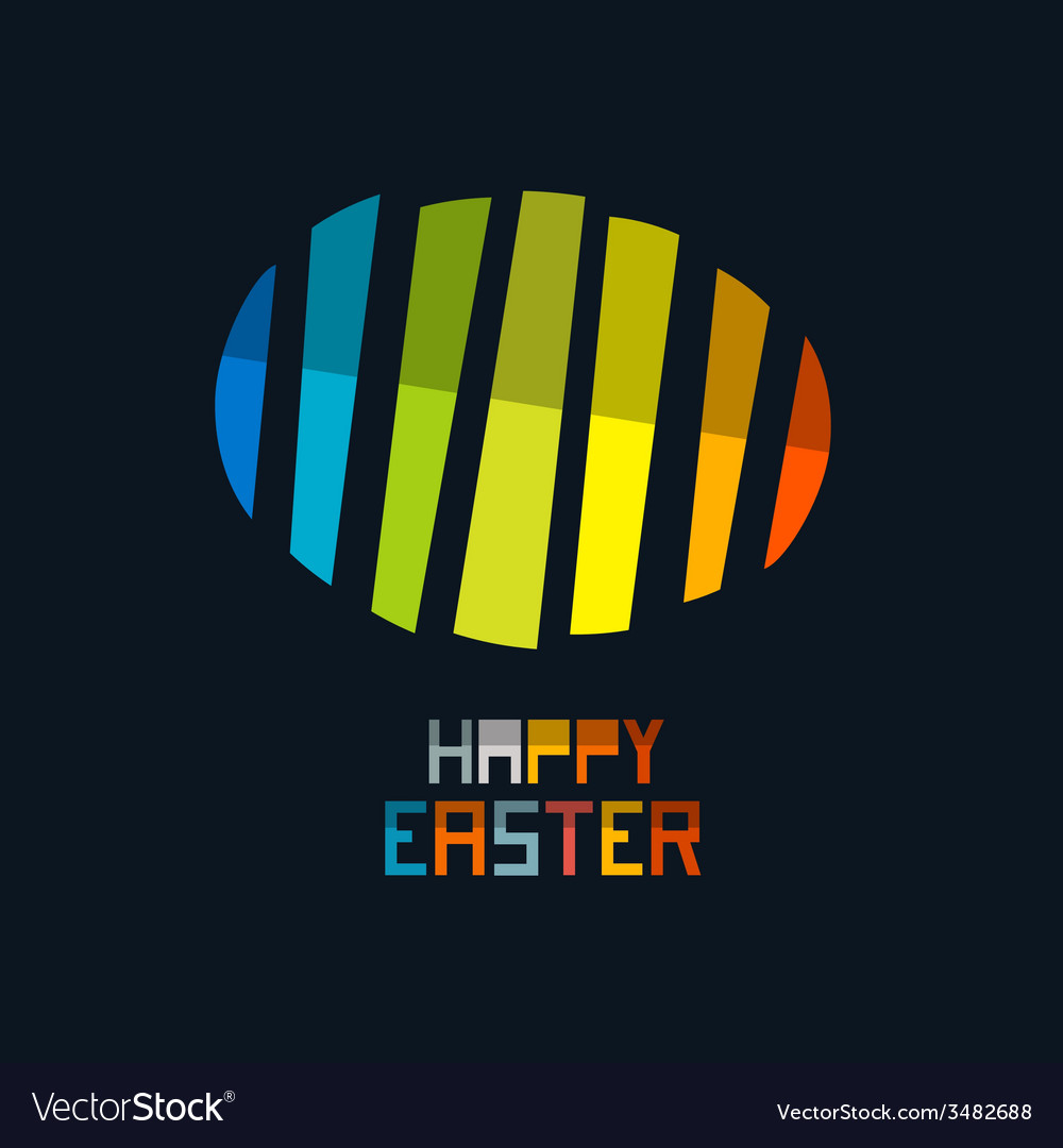 Happy easter colorful abstract egg symbol on dark vector | Price: 1 Credit (USD $1)
