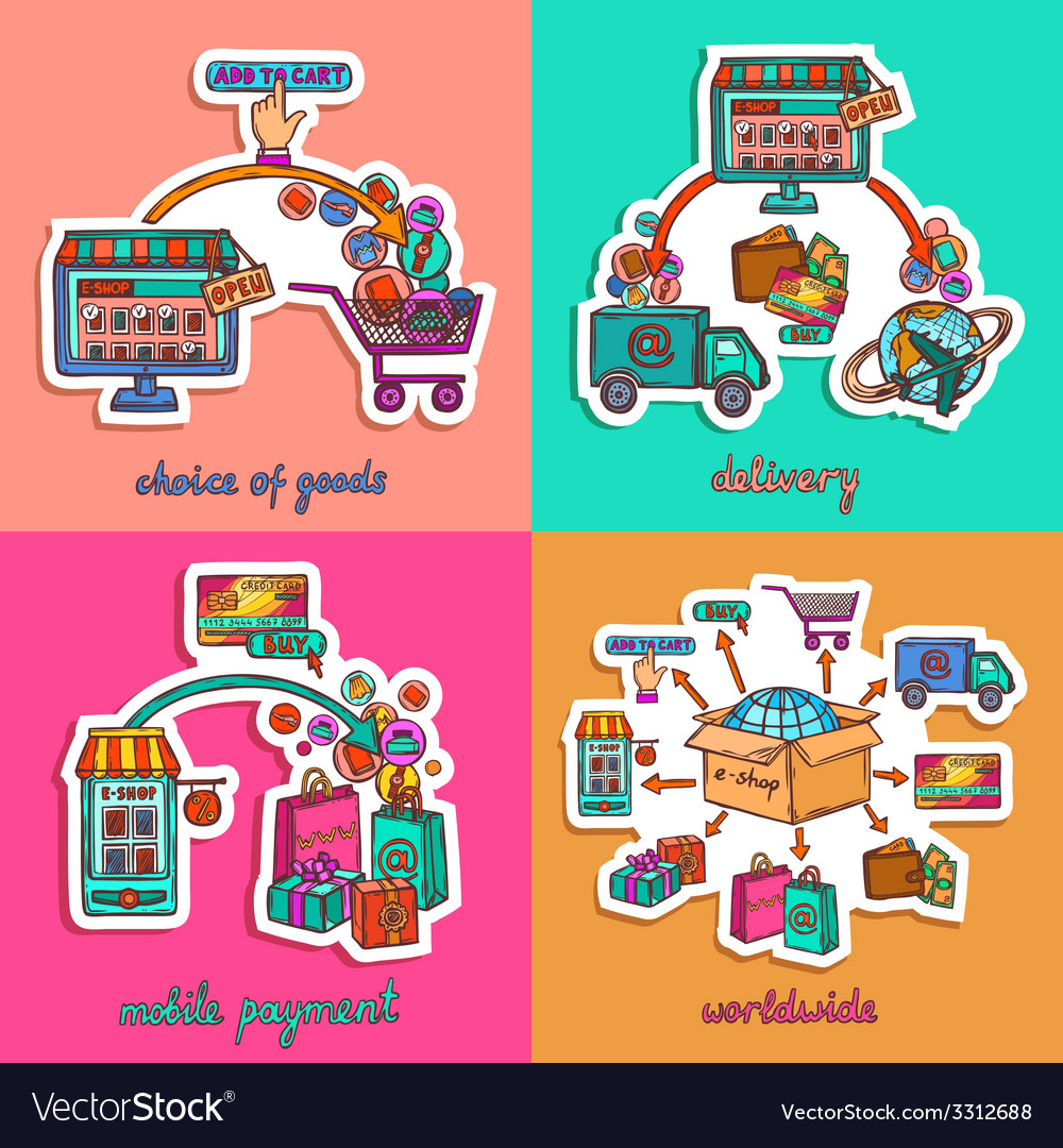 Online shopping set vector | Price: 3 Credit (USD $3)