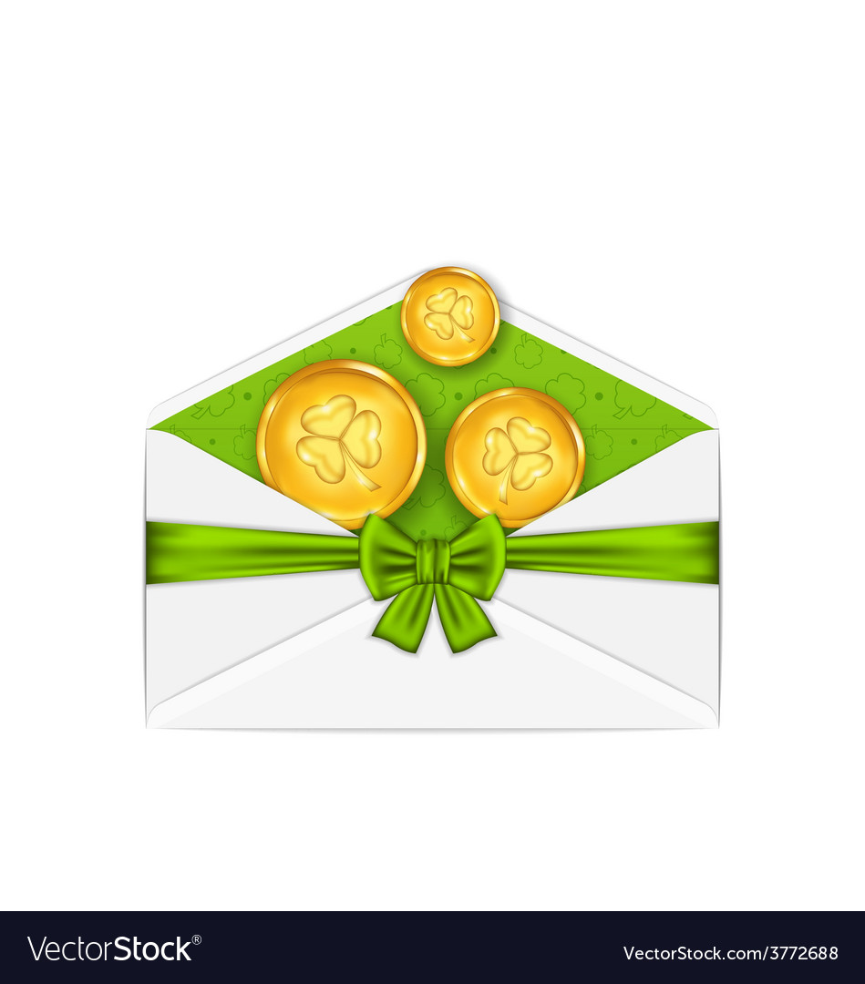 Open white envelope with golden coins and bow vector | Price: 1 Credit (USD $1)