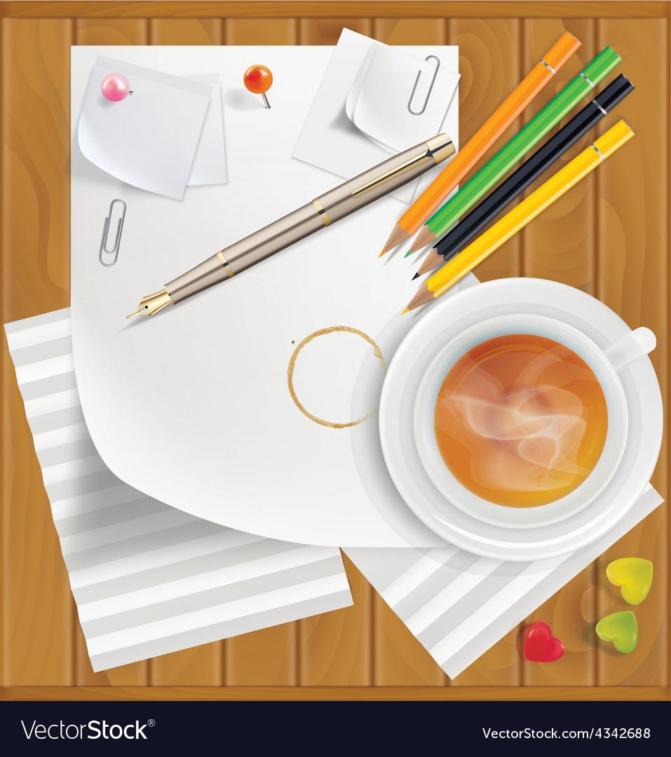 Pencils pushpins paper clips paper sheets tea vector | Price: 1 Credit (USD $1)