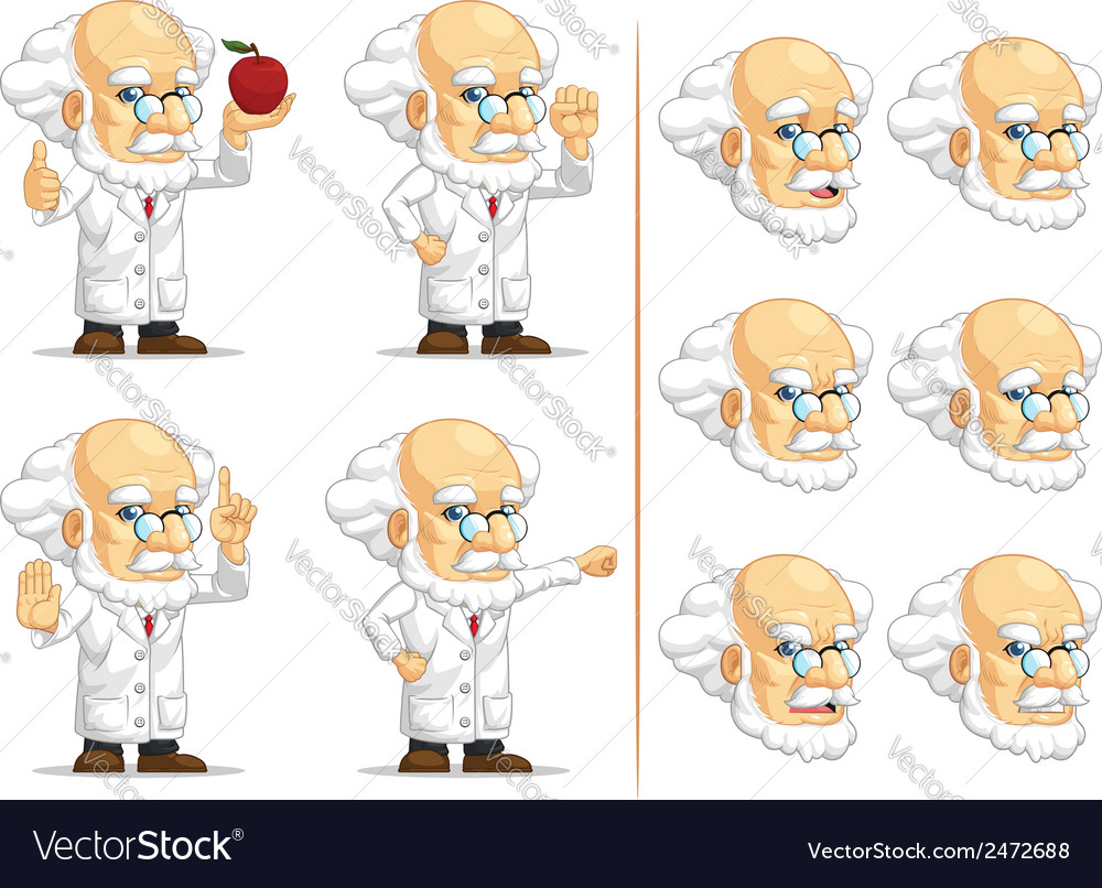 Scientist or professor customizable mascot 9 vector | Price: 1 Credit (USD $1)
