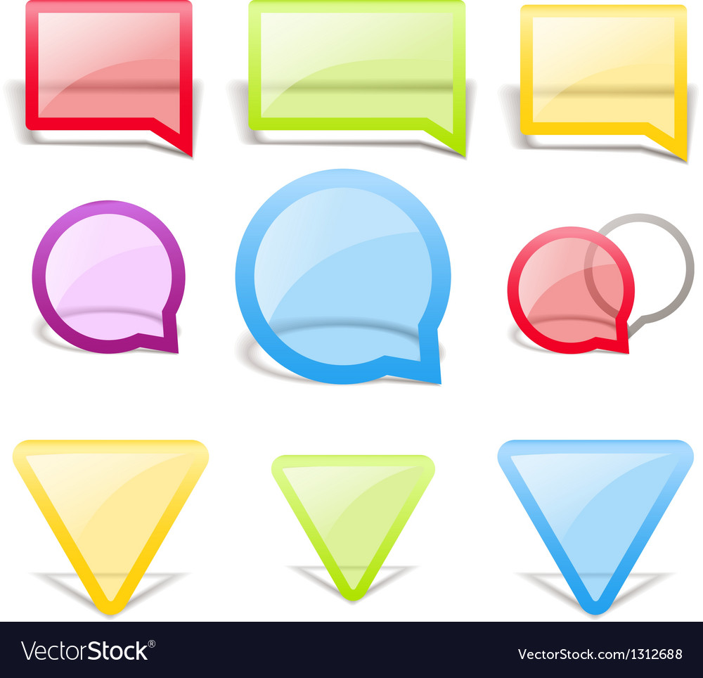 Set of glass style speech bubbles vector | Price: 1 Credit (USD $1)