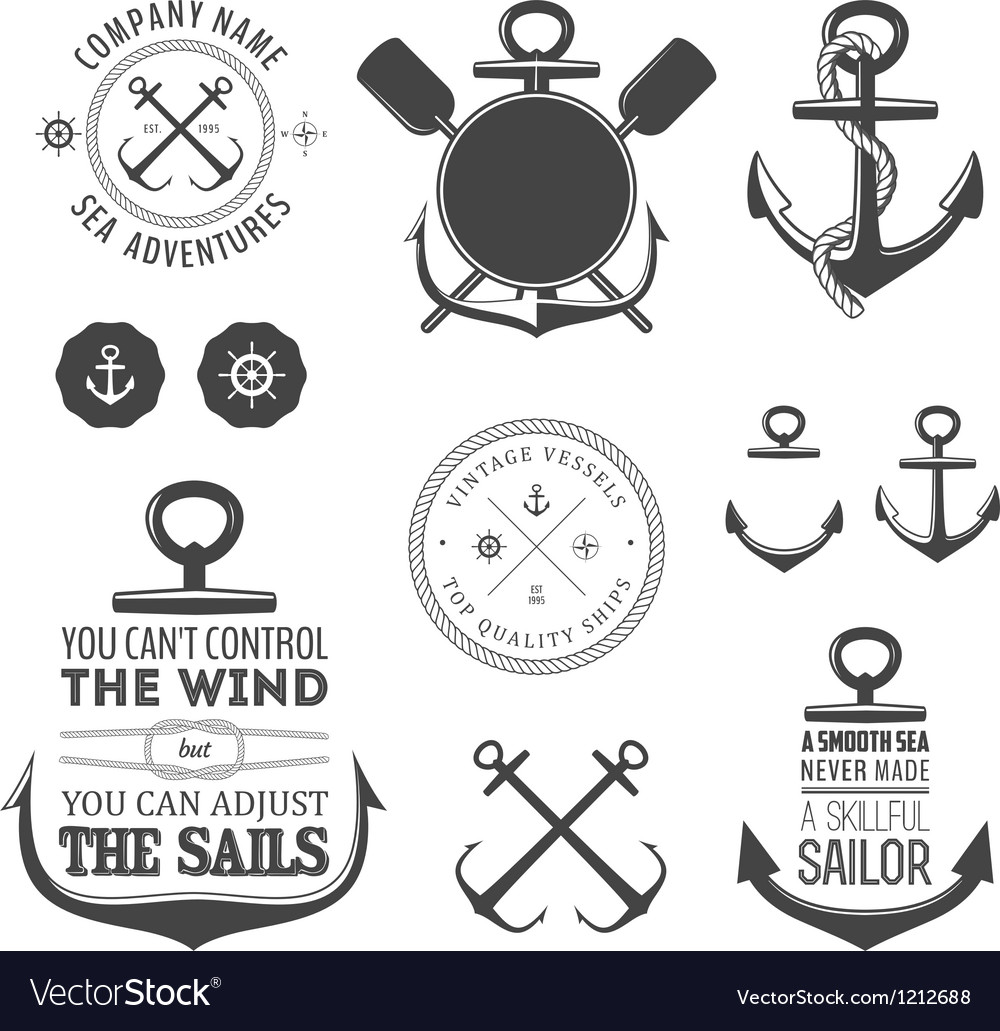 Set of nautical labels icons and design elements vector | Price: 1 Credit (USD $1)