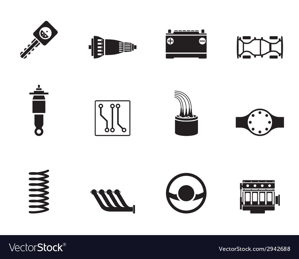Silhouette realistic car parts and services icons vector | Price: 1 Credit (USD $1)