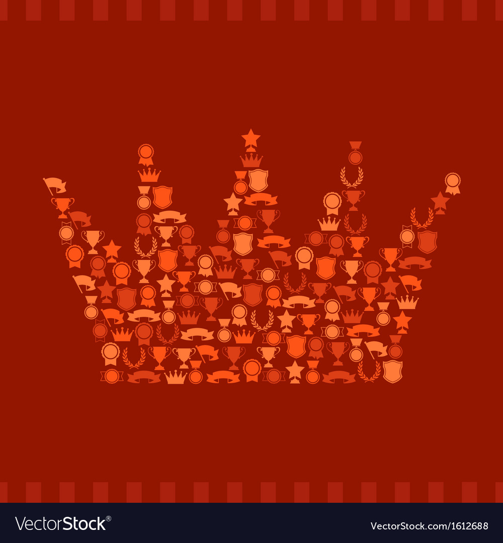 Trophies and awards icons in the form of crown vector | Price: 1 Credit (USD $1)