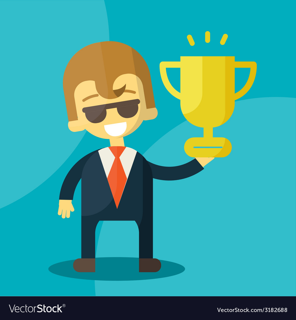 Young businessman lifts trophy vector | Price: 1 Credit (USD $1)