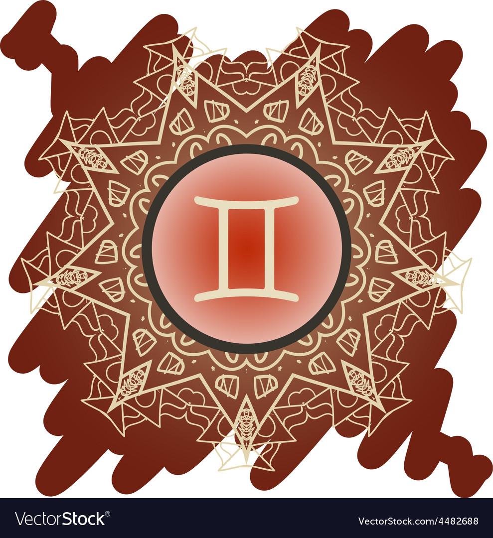 Zodiac sign the twins gemini vector | Price: 1 Credit (USD $1)