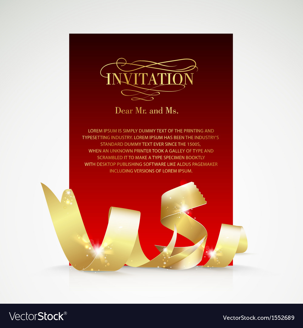 Card with gold ribbon and copy space vector | Price: 1 Credit (USD $1)