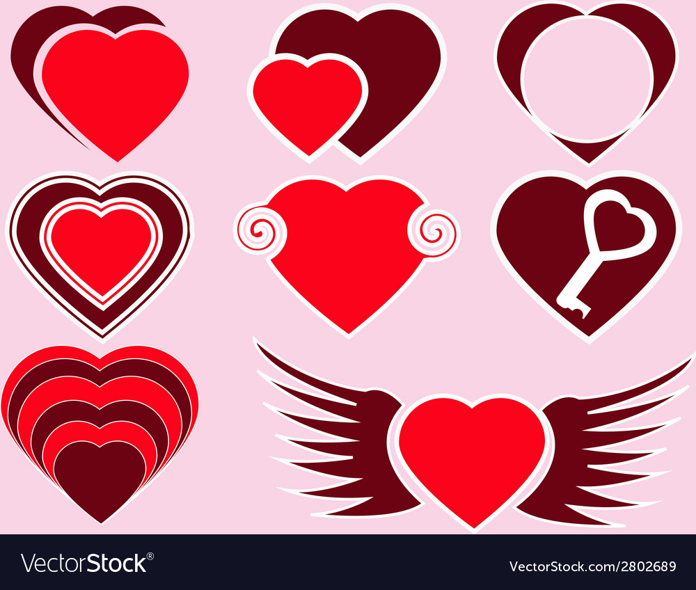 The collection of red hearts vector | Price: 1 Credit (USD $1)