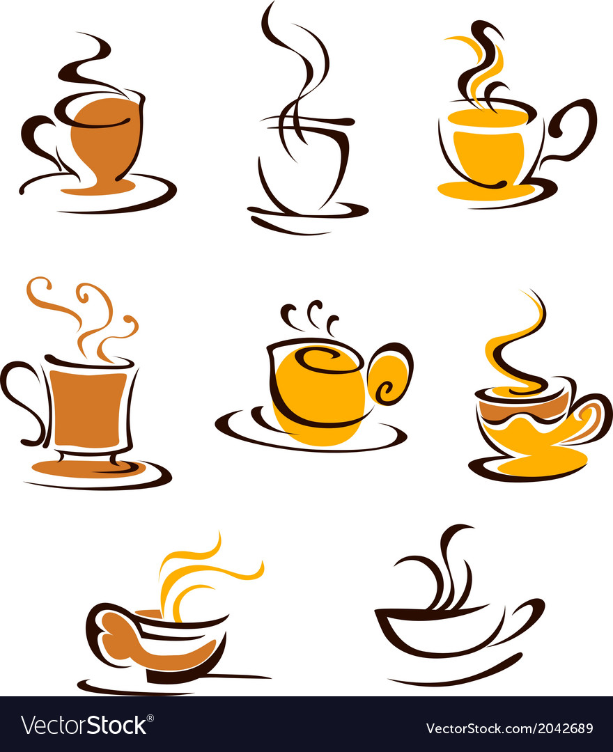 Cups of hot coffee vector | Price: 1 Credit (USD $1)