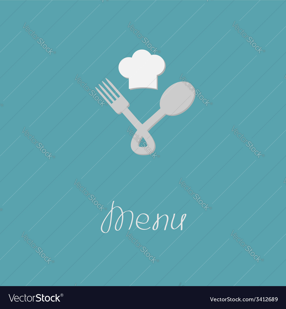 Fork spoon node and chef hat menu card flat design vector | Price: 1 Credit (USD $1)