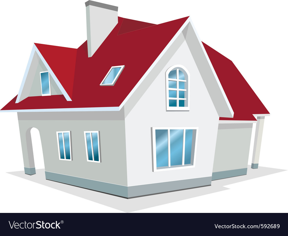 House with red roof vector | Price: 3 Credit (USD $3)