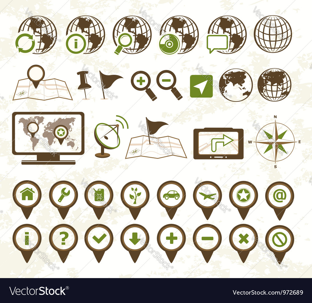 Location icons military style vector | Price:  Credit (USD $)