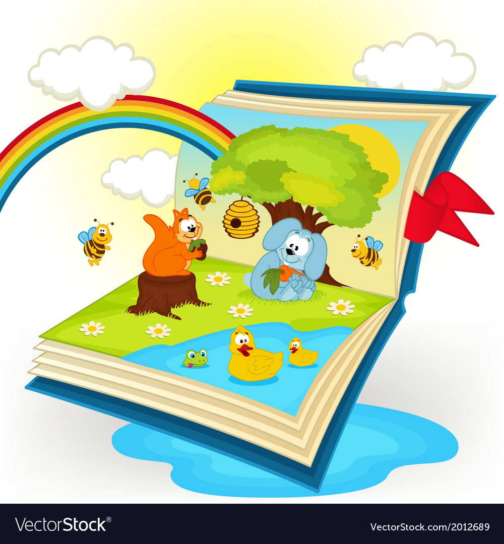 Magic book animals in the glade vector | Price: 1 Credit (USD $1)