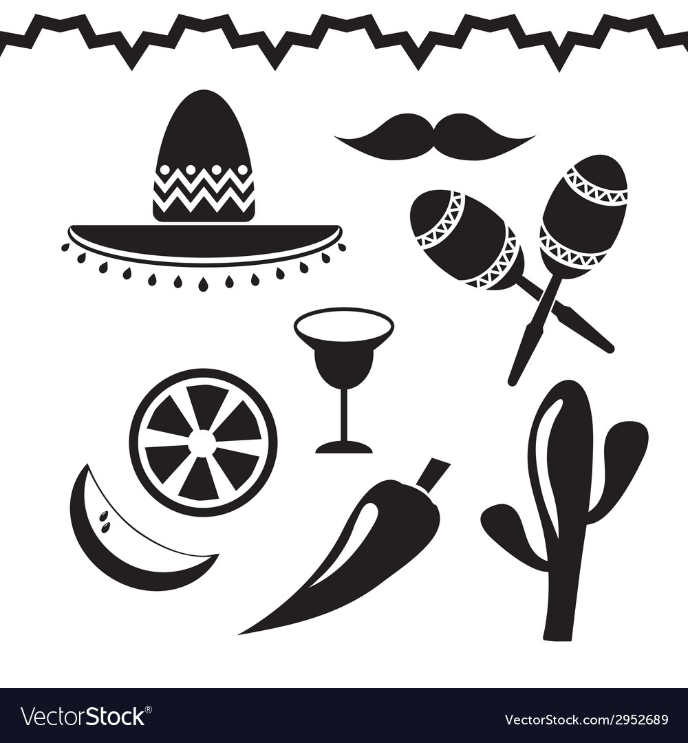 Mexico icons set on white background vector | Price: 1 Credit (USD $1)