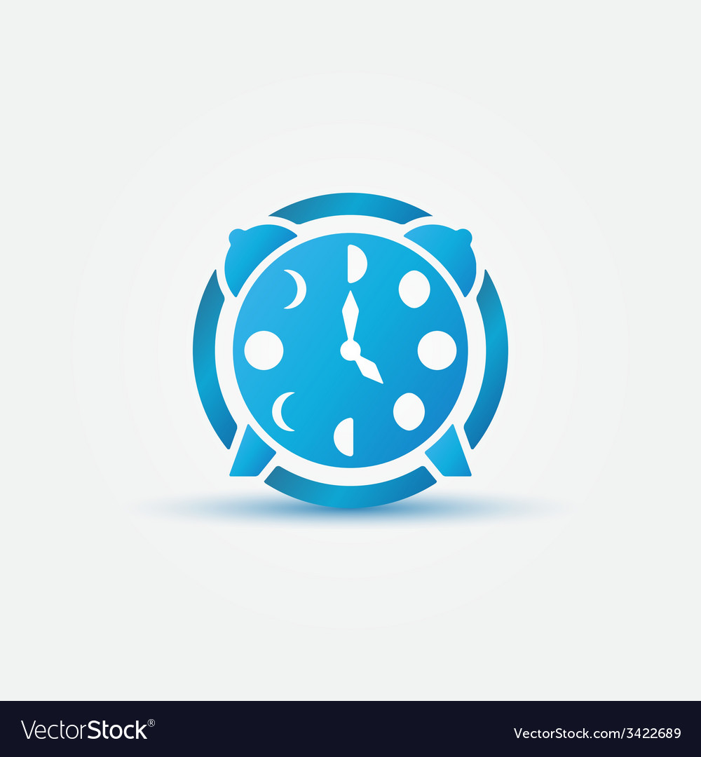 Moon phases alarm clock blue icon vector | Price: 1 Credit (USD $1)