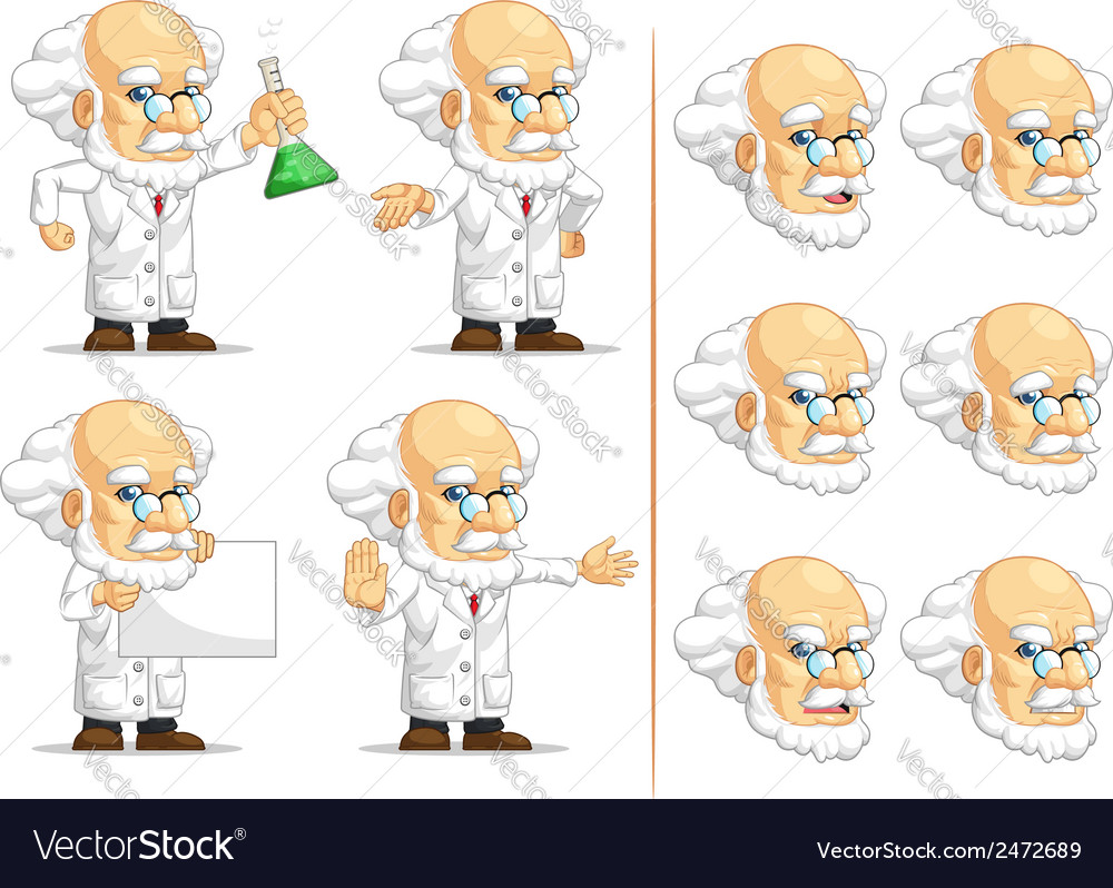 Scientist or professor customizable mascot 10 vector | Price: 1 Credit (USD $1)