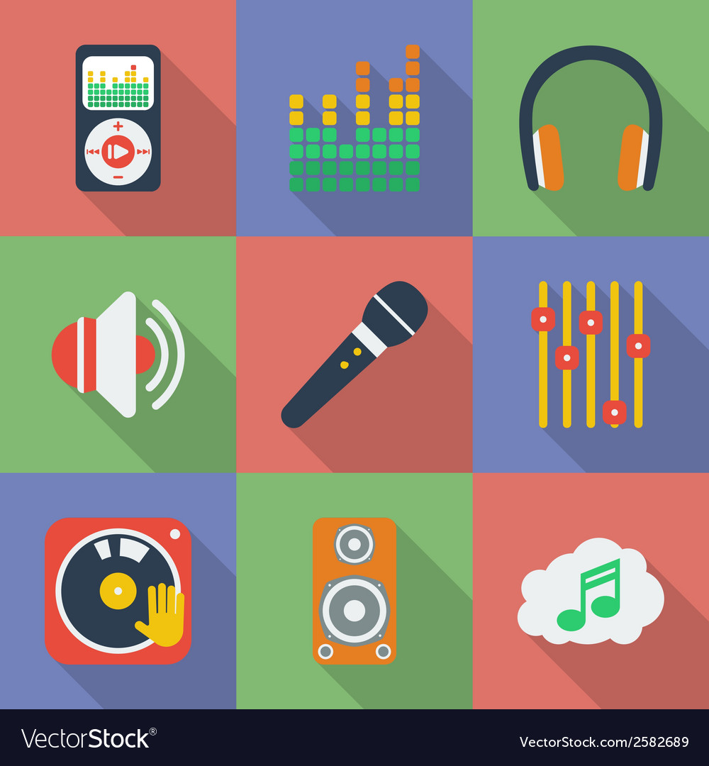 Set of icons of music theme modern flat style with vector | Price: 1 Credit (USD $1)