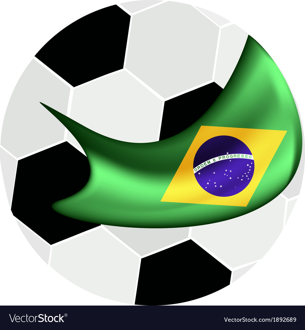 Soccer ball and brazilian flag of brazil 2014 vector | Price: 1 Credit (USD $1)