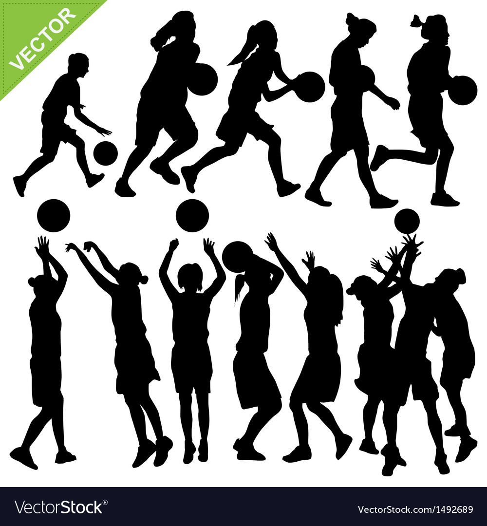 Women play basketball silhouettes vector | Price: 1 Credit (USD $1)