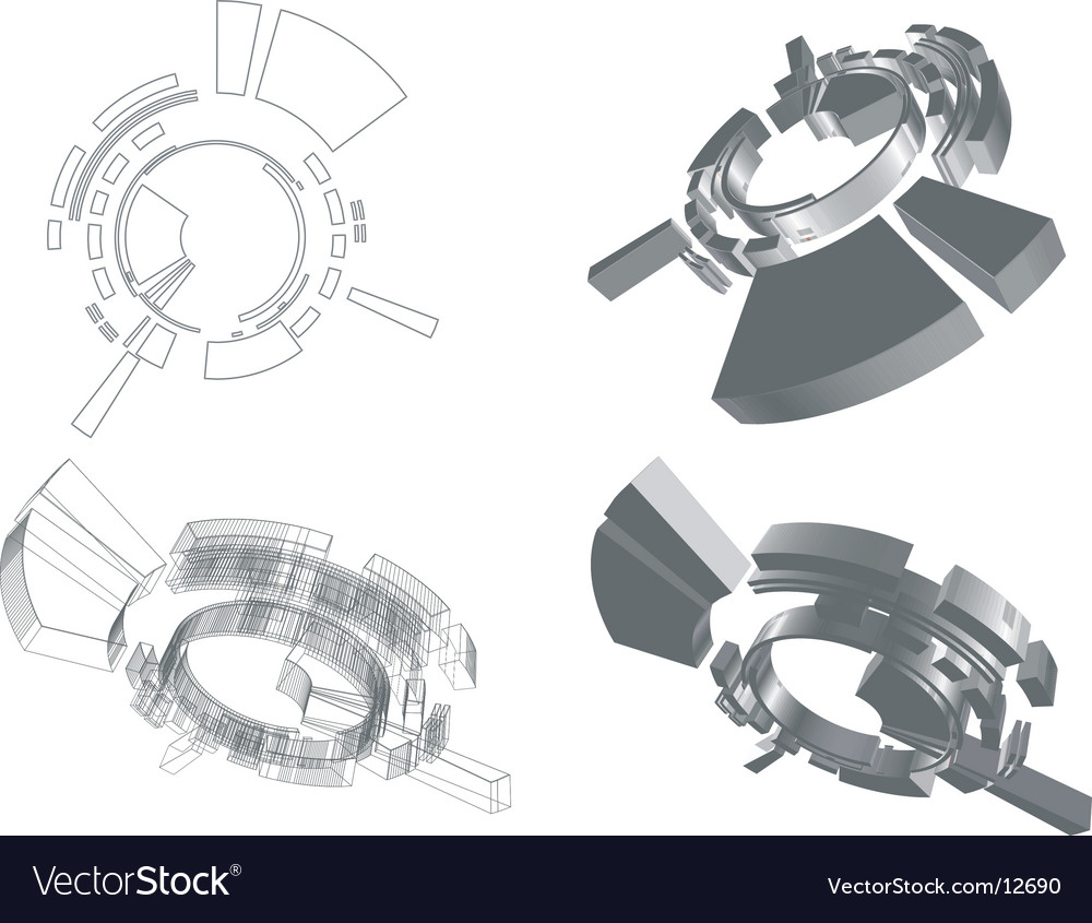 3d abstract futuristic object vector | Price: 1 Credit (USD $1)